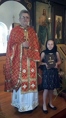 Leagsaidh received a blessing to read the Apostle during Divine Liturgy